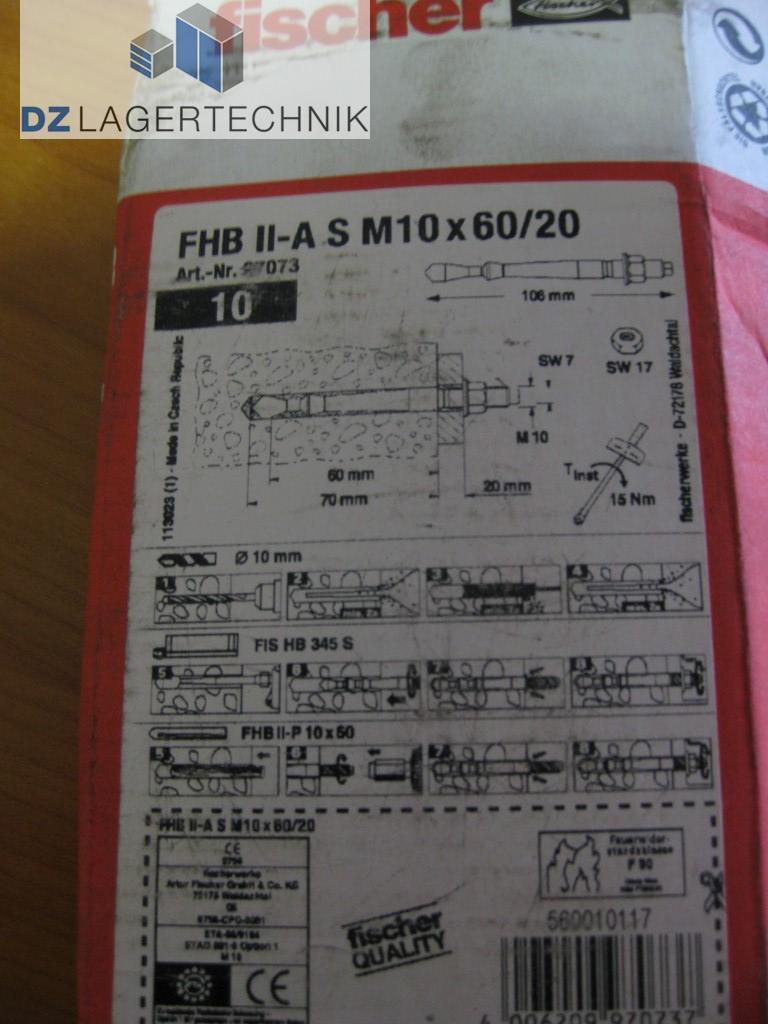 10 X Schwerlastanker Fischer Fhb Ii A S M10 X 60 20 Dz Lagertechnik