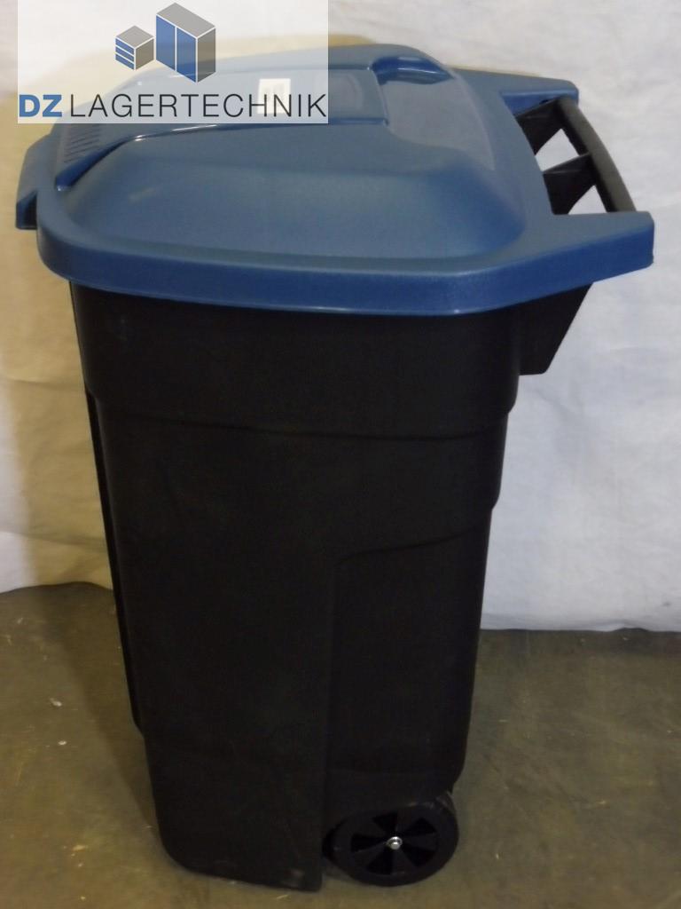 container mit r dern 100 l mit blauem deckel dz lagertechnik. Black Bedroom Furniture Sets. Home Design Ideas
