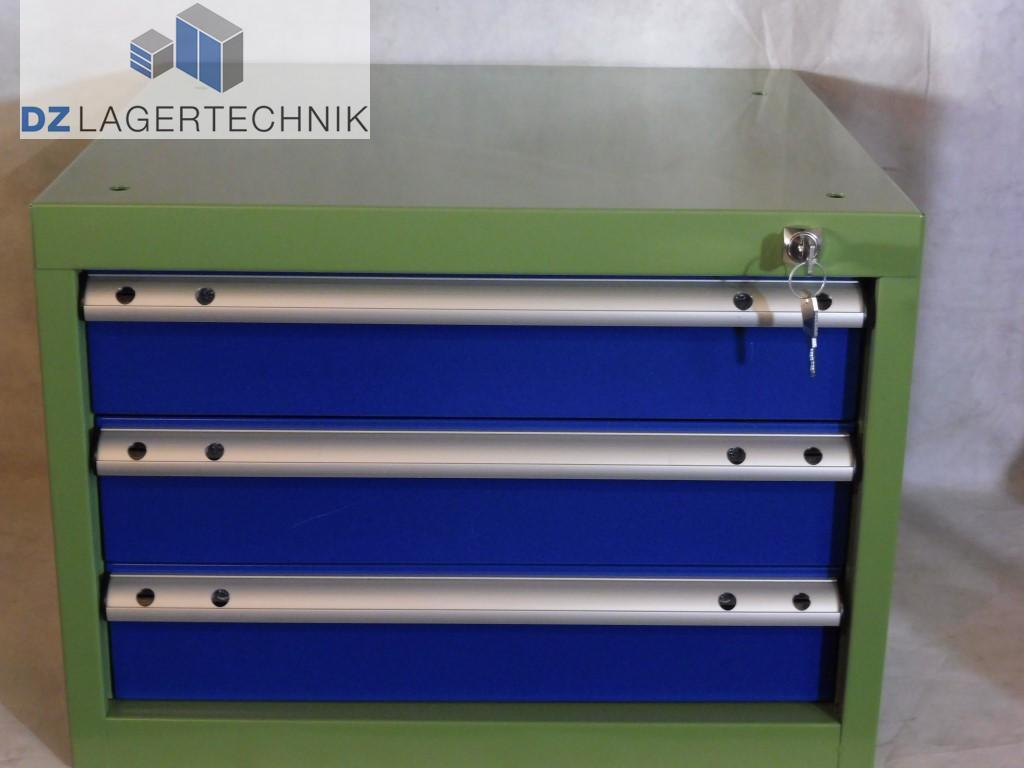 schubladenblock mit 3 schubladen blau gr n 500x525x380 dz lagertechnik. Black Bedroom Furniture Sets. Home Design Ideas