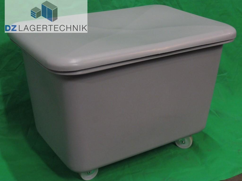 Kunststoffbehälter auf Rollen mit Deckel grau - DZ